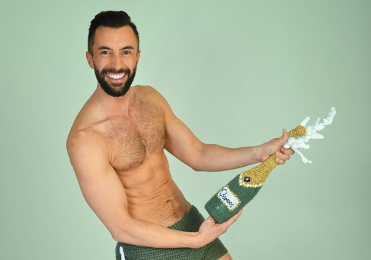gebreide champagne Darn Men with yarn calendar