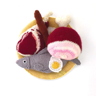Knitted meat and fish